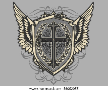 stock vector : Cross Shield
