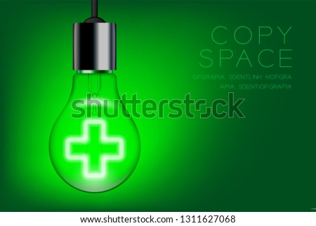 Cross sign shape Incandescent light bulb switch on set Medical organization concept, illustration isolated glow in green gradient background, with copy space vector eps 10
