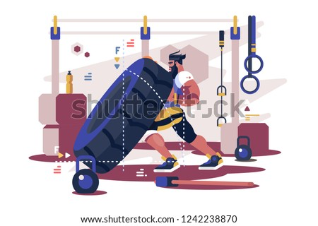 Cross Sport workout flat poster vector illustration. Strong sportsman on training with squatting lifting tire at gym. Fitness bodybuilding motivation design. Healthy lifestyle concept