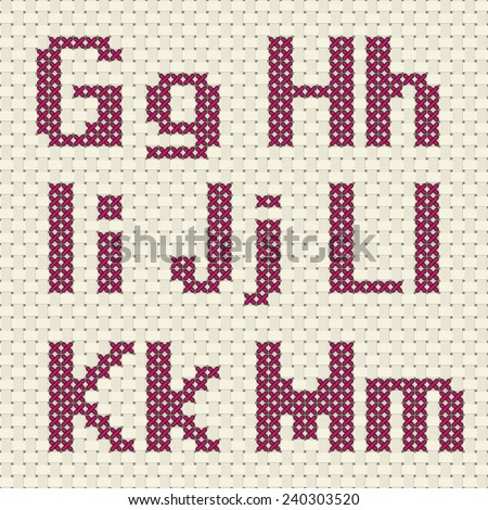 Cross stitch alphabet and number. Alphabet and number in cross stitch pattern.