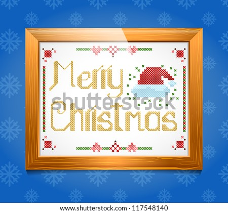 Cross-stitch Christmas  greeting - stock vector