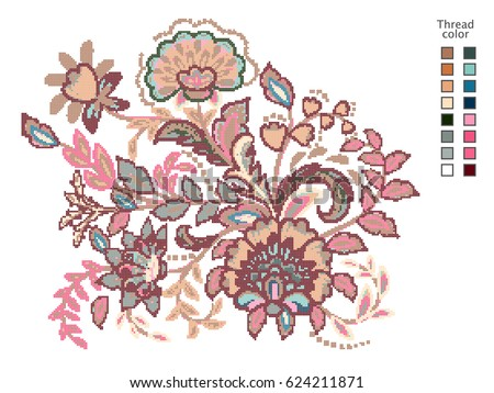cross stitch flowers ready