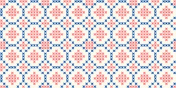 Cross stitch geometric ornamental ogee motif in blue, red colours. Allover vector pattern for fabric, apparel textile, interior design, linen napkin, kitchen tablecloth. Retro Scottish folk ornament
