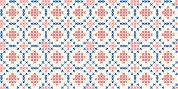 Cross stitch geometric ornamental ogee motif in blue, red colours. Allover vector pattern for fabric, apparel textile, interior design, linen napkin, kitchen tablecloth. Retro Scottish folk ornament