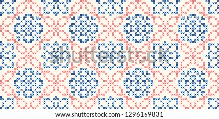 Cross stitch jacquard ornamental flower motif in blue, red colours. Allover vector pattern for fabric, interior textile design, linen napkin, kitchen tablecloth, paper towel. Retro folk floral pattern