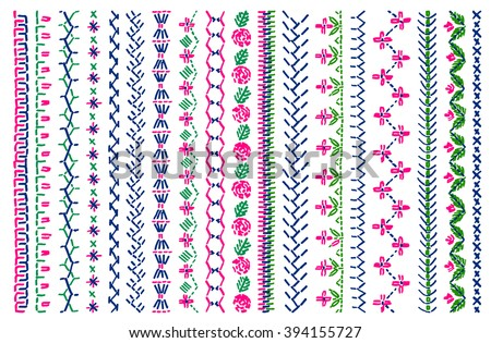 cross stitch pattern for clothing elements of folk