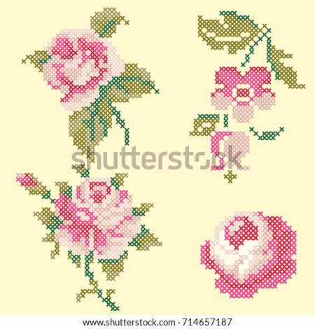 cross stitch roses elements