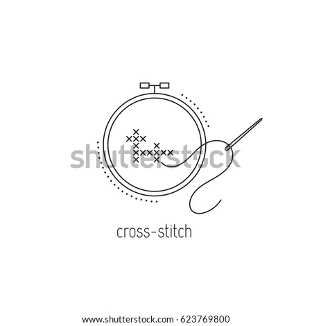 cross stitch vector thin line