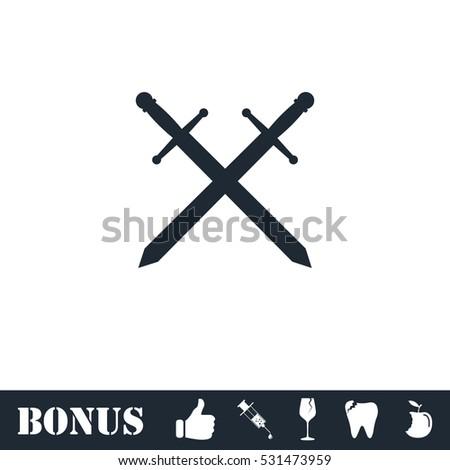 Cross swords icon flat. Vector illustration symbol and bonus pictogram