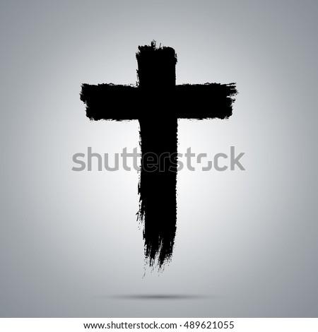 Cross thick strokes. Religious icon. Hand-drawn strokes. vector strokes