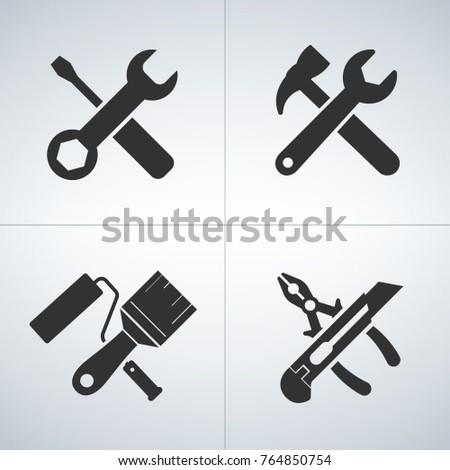 Cross tools icon set, isolated icons on black background, vector illustration
