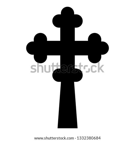 Cross trefoil shamrock on church cupola domical with cut Cross monogram Religious cross icon black color vector illustration flat style simple image