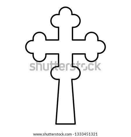 Cross trefoil shamrock on church cupola domical with cut Cross monogram Religious cross icon black color outline vector illustration flat style simple image