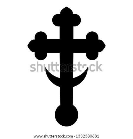 Cross trefoil shamrock on church cupola domical with half-moon Cross monogram Religious cross icon black color vector illustration flat style simple image