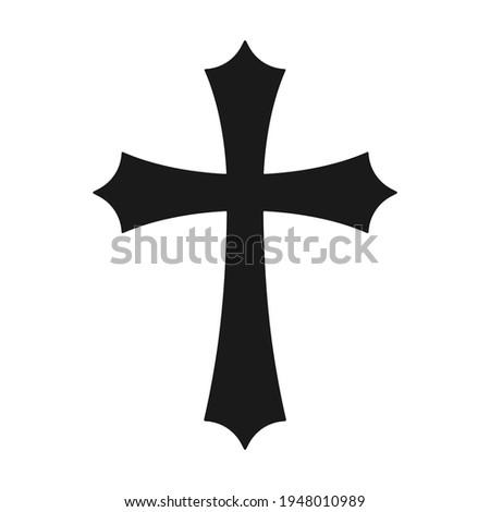 Cross vector shape symbol. Christianity sign. Christian religion icon. Catholic and protestant faith logo or image. Teutonic crusader label. Gothic crusade crucifix. Stock photo ©