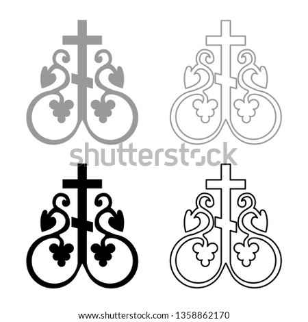 Cross vine Cross monogram Symbol secret communion sign Religious cross anchors icon set black color vector illustration flat style simple image