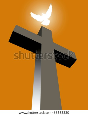 Cross with a white pigeon on an orange background