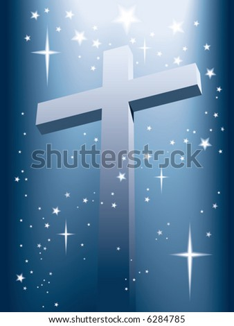 Cross with light and shining stars, vector