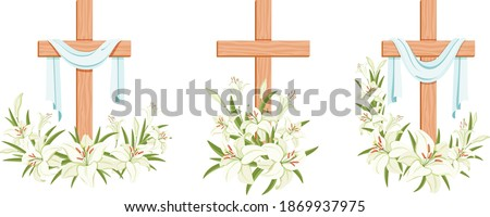 Cross with lilies. Religious Easter Symbol. Colorful crosses with lilies with shroud set. Easter Sunday poster design elements for card, greetings. Isolated. Vector illustration