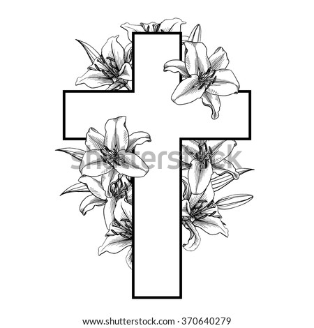 Cross with white lillies. Christian Symbol. Vector illustration. Easter christian motive . Resurrection.