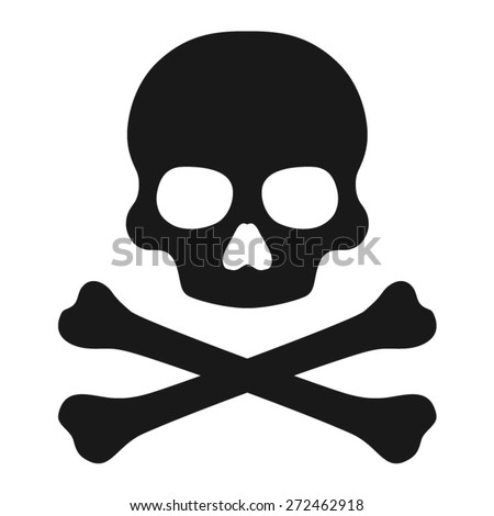 Crossbones and skull death flat icon