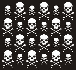 crossbones and skull pattern, individual objects very easy to edit