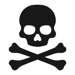Crossbones / death skull, danger or poison flat vector icon for apps and websites