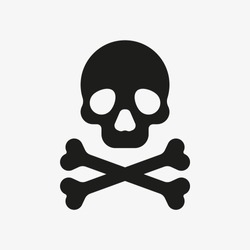 Crossbones icon. Death symbol. Black vector illustration of skull and bones isolated on white background. Poison symbol vector.