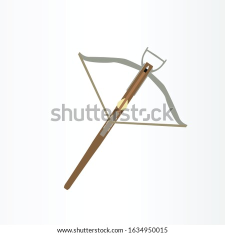 CROSSBOW WEAPON VECTOR ILLUSTRATION. CROSSBOW LOGO ICON. ANIME WEAPON LOGO. stock photo