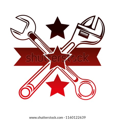 crossed adjustable wrench and spanner tools stars emblem