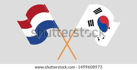 Crossed and waving flags of Netherlands and South Korea Zdjęcia stock ©