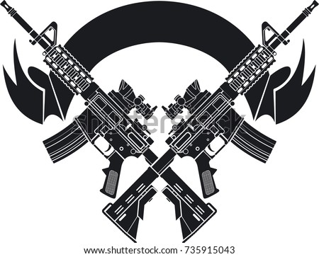 crossed assault rifles over