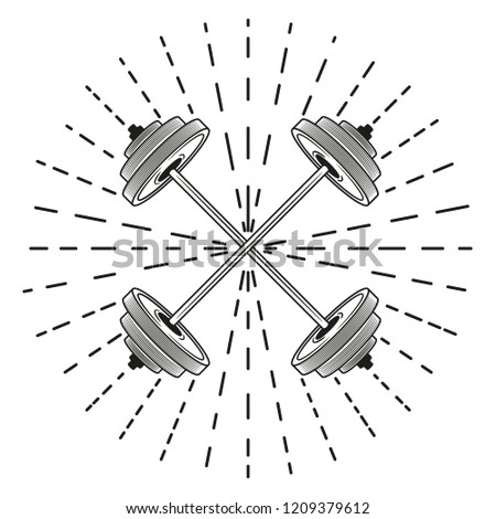 Crossed barbells. Vector illustration.