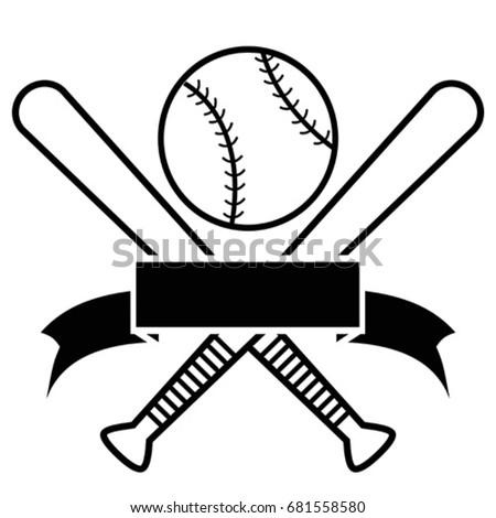 crossed baseball bats and ball
