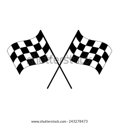 Crossed black and white checkered flags logo waving in the wind conceptual of motor sport isolated on white