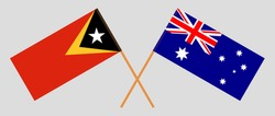 Crossed flags of East Timor and Australia