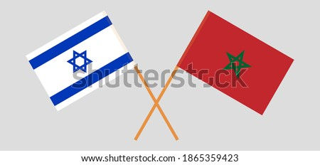 crossed flags of israel and