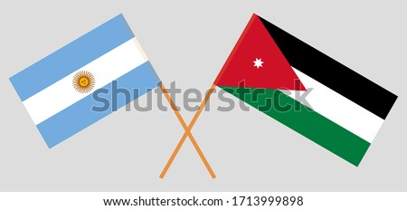 Crossed flags of Jordan and Argentina. Official colors. Correct proportion. Vector illustration