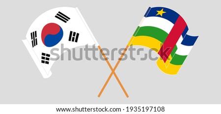 crossed flags of south korea
