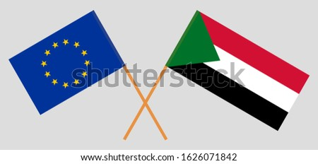crossed flags of sudan and the