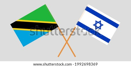 Crossed flags of Tanzania and Israel. Official colors. Correct proportion