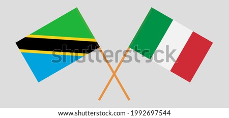 Crossed flags of Tanzania and Italy. Official colors. Correct proportion