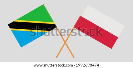 Crossed flags of Tanzania and Poland. Official colors. Correct proportion