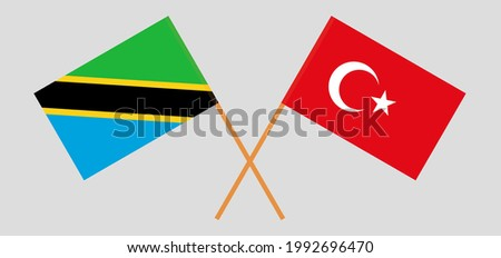 Crossed flags of Tanzania and Turkey. Official colors. Correct proportion