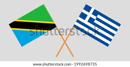 Crossed flags of Tunisia and Greece. Official colors. Correct proportion