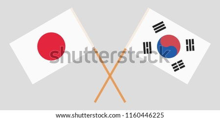 crossed flags south korea and