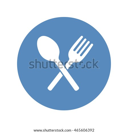 Crossed fork and spoon icon placed in a blue circle. Restaurant, cafe symbol.