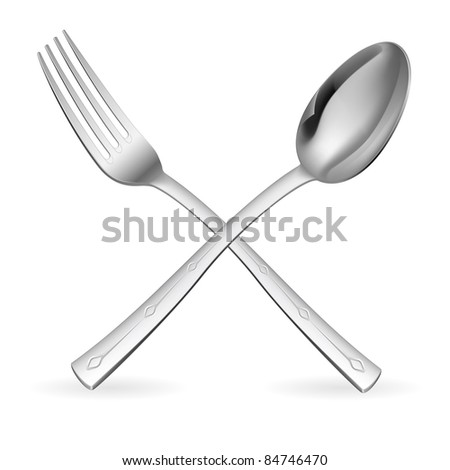 Crossed fork and spoon. Illustration on white background.