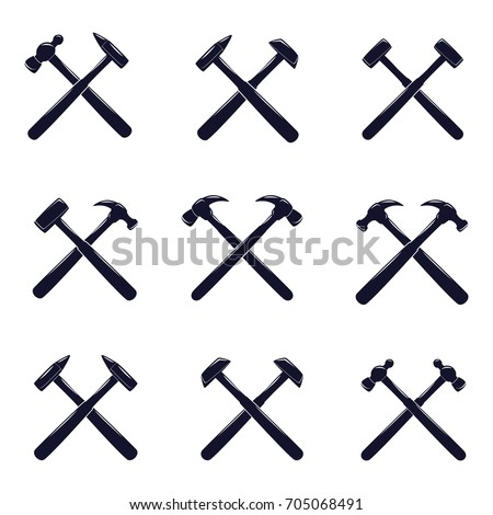crossed hammer icon set