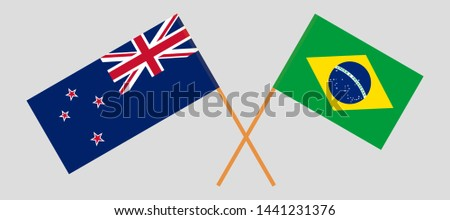 Crossed New Zealand and Brazilian flags